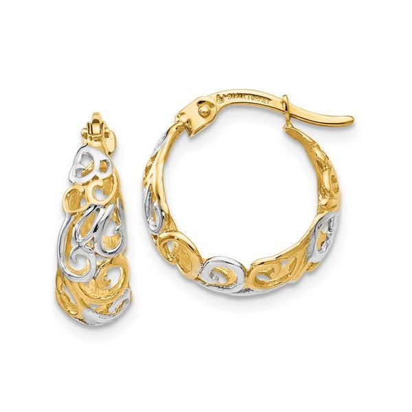 Two Tone Gold Hoop Earrings DJ's Jewelry Woodland, CA