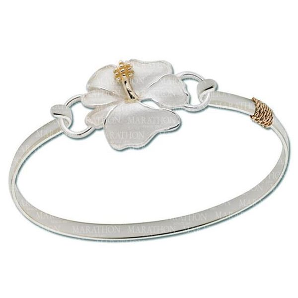 Hibiscus Flower With Gold Accent Image 2 DJ's Jewelry Woodland, CA