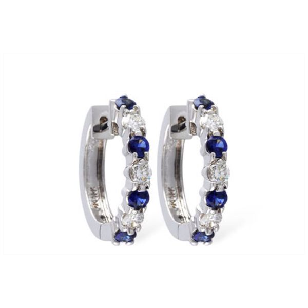 Sapphire and Diamond Hoops DJ's Jewelry Woodland, CA