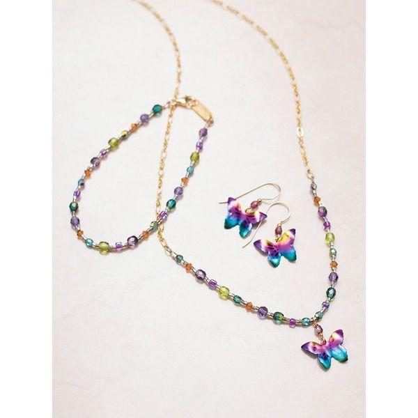 Rainbow Butterfly Dangle Earrings Image 2 DJ's Jewelry Woodland, CA