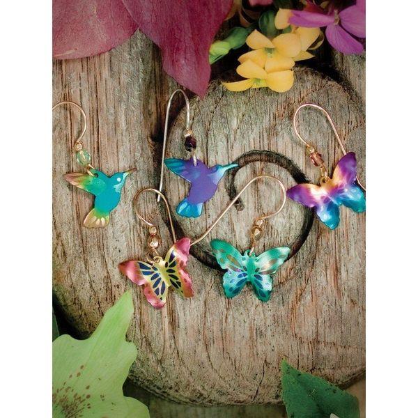 Rainbow Butterfly Dangle Earrings Image 3 DJ's Jewelry Woodland, CA