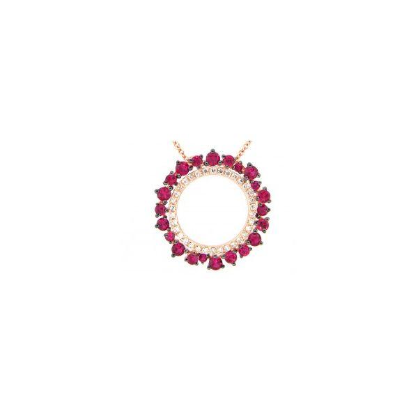 Ruby and Diamond Circle Pendant DJ's Jewelry Woodland, CA