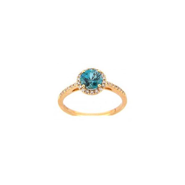 Blue Zircon, Halo Ring DJ's Jewelry Woodland, CA
