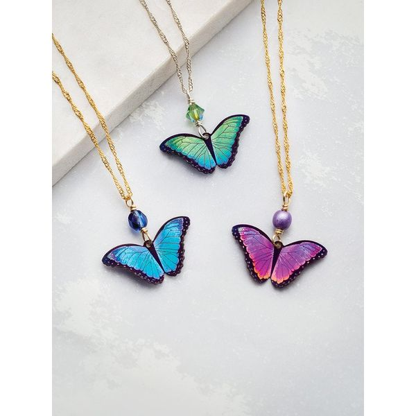 Blue Flash Bella Butterfly Pendant Image 2 DJ's Jewelry Woodland, CA