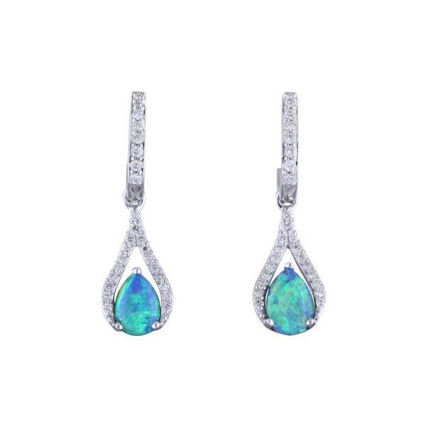 Opal and Diamond Earrings DJ's Jewelry Woodland, CA
