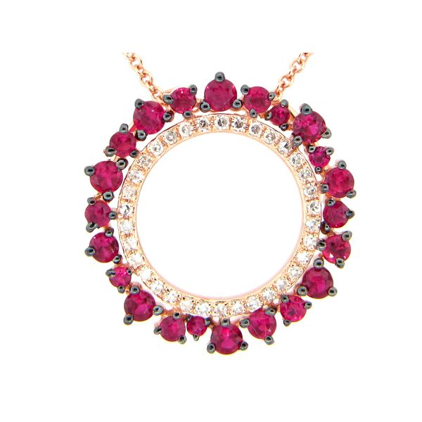 Ruby and Diamond Circle Pendant Image 2 DJ's Jewelry Woodland, CA
