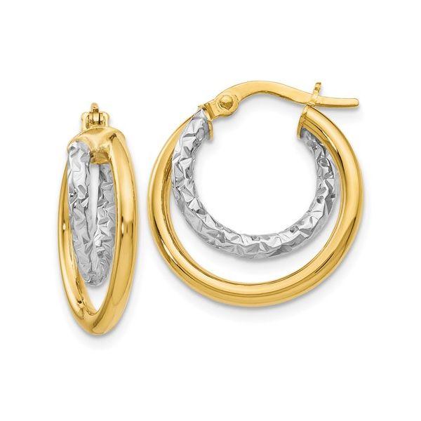 Two tone Double Hoop Earrings DJ's Jewelry Woodland, CA
