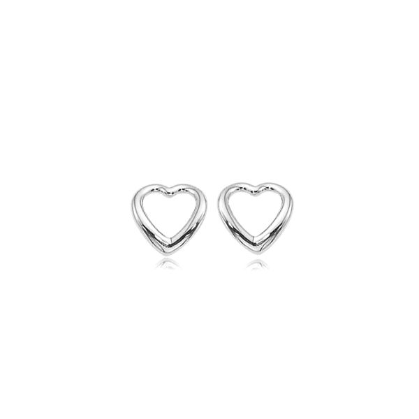 White Gold Heart Earrings DJ's Jewelry Woodland, CA