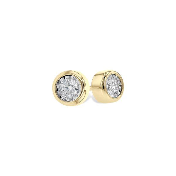 Illusion Set Bezel Design Diamond Earrings DJ's Jewelry Woodland, CA