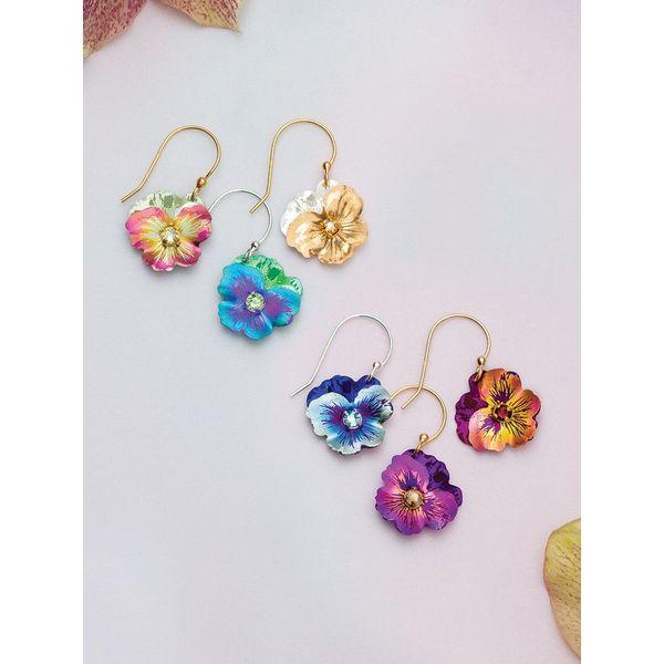Blue Garden Pansy Drop Earrings Image 2 DJ's Jewelry Woodland, CA