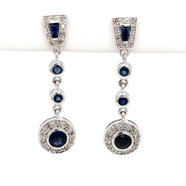 14kt White Gold Sapphire and Diamond Earrings Don's Jewelry & Design Washington, IA