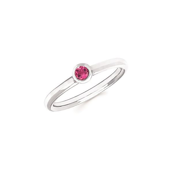 Sterling Silver Created Pink Sapphire Ring Image 2 Don's Jewelry & Design Washington, IA