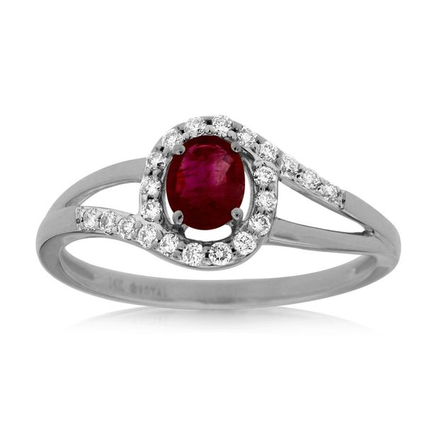 14kt White Gold Ruby and Diamond Ring Don's Jewelry & Design Washington, IA
