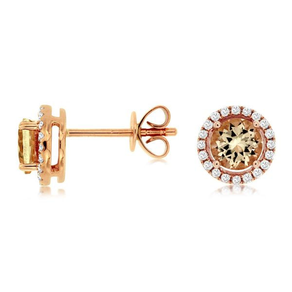 Morganite and Diamond Earrings Don's Jewelry & Design Washington, IA