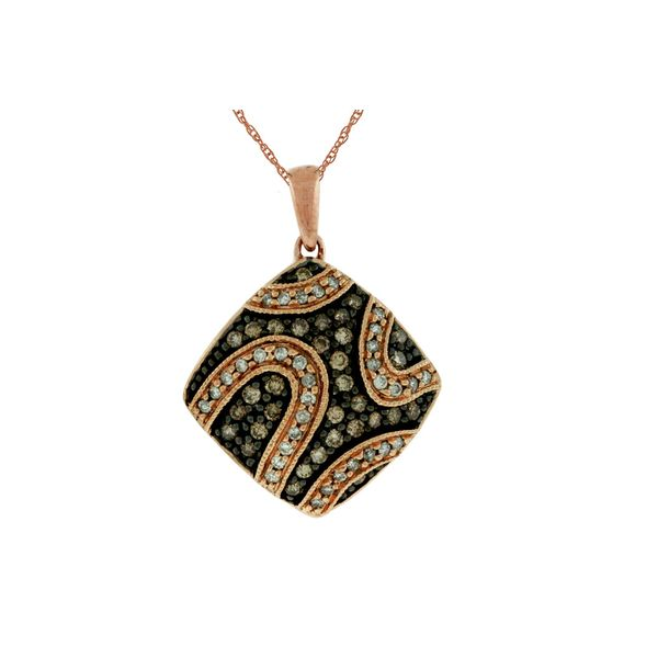 14kt Rose Gold Mocha and White Diamond Necklace Don's Jewelry & Design Washington, IA