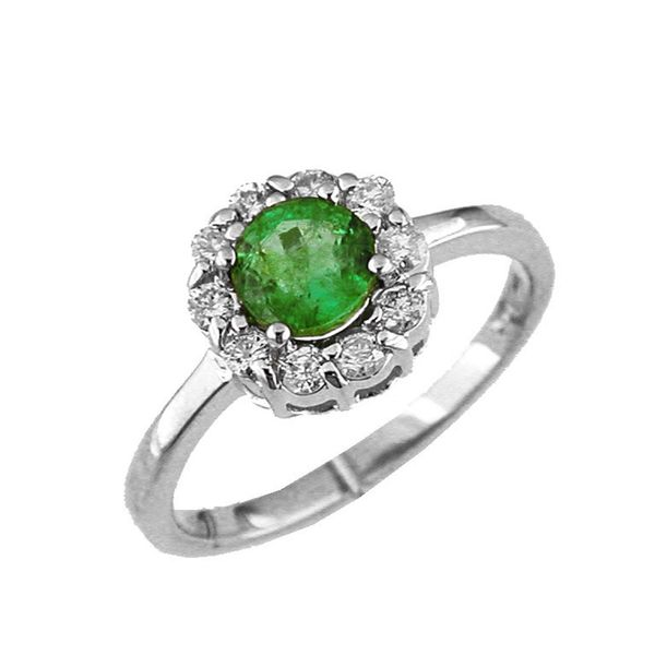14kt White Gold Emerald and Diamond Ring Don's Jewelry & Design Washington, IA