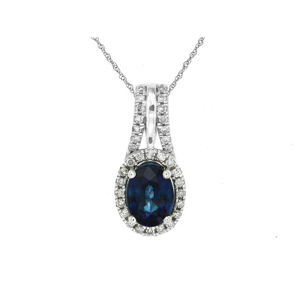 14kt White Gold Sapphire and Diamond Necklace Don's Jewelry & Design Washington, IA