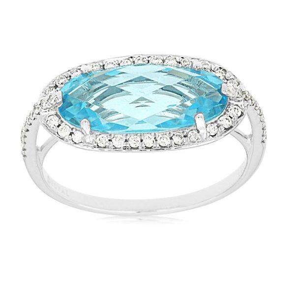 14kt White Gold Blue Topaz and Diamond Ring Don's Jewelry & Design Washington, IA