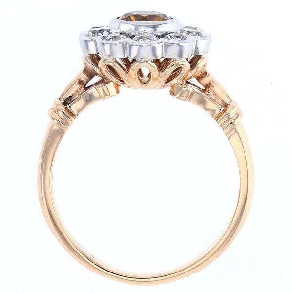 Yellow sapphire vintage old european cut diamond halo two tone gold ring