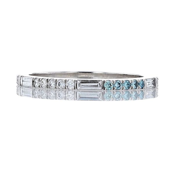 aqua blue diamond baguette diamond band