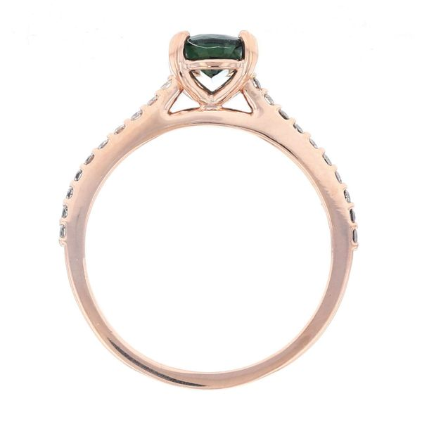 Oval Teal Sapphire Rose Gold Engagement Ring