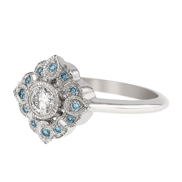 Vintage Floral Halo Engagement Ring