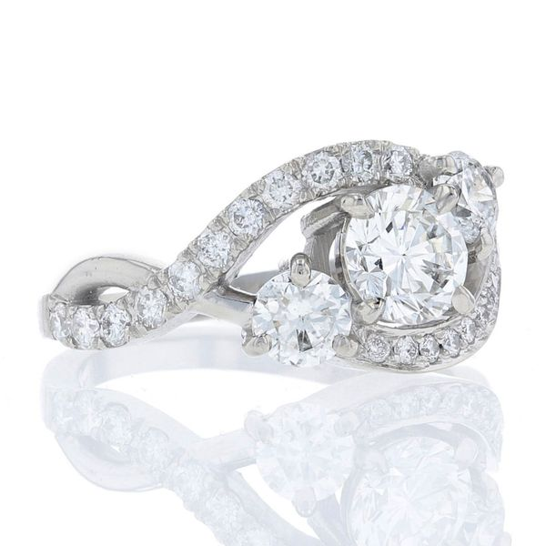 Bypass Twisting 3-Stone Engagement Ring