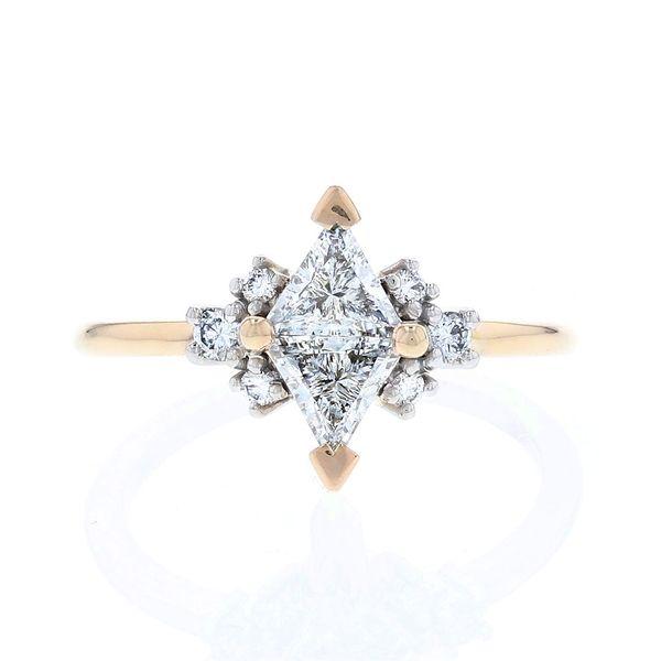 Luna lab created triangle diamond ring yellow gold and platinum