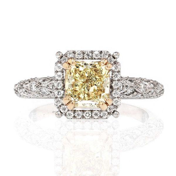 canary yellow radiant diamond platinum ring