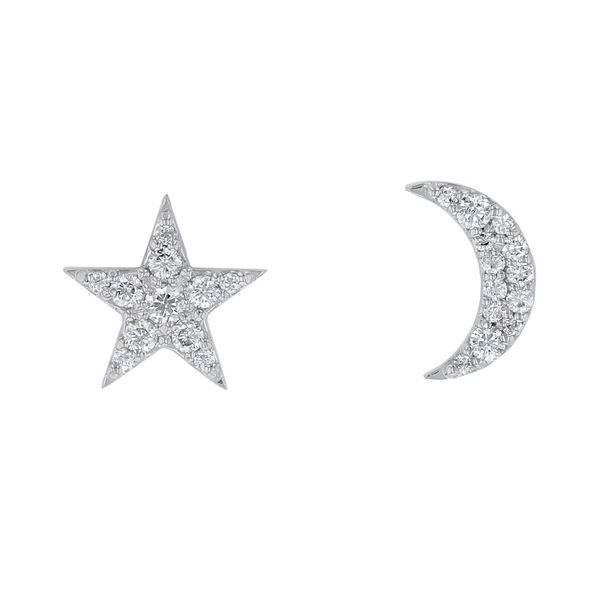 star and moon diamond pave earrings