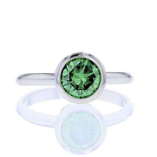 Green Diamond Bezel Set Solitaire White Gold