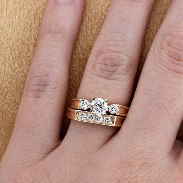 Replica yellow gold three stone antique engagement ring