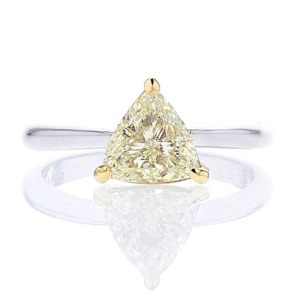 Trillion yellow diamond solitaire ring