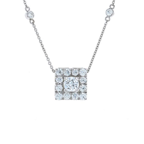 Square halo slider pendant and diamonds by the yard