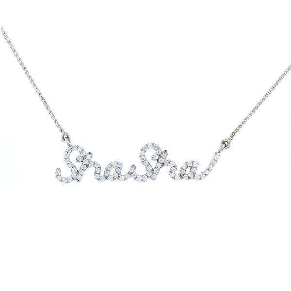 Cursive nameplate diamond necklace