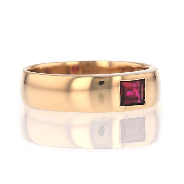 yellow gold flush set ruby ring
