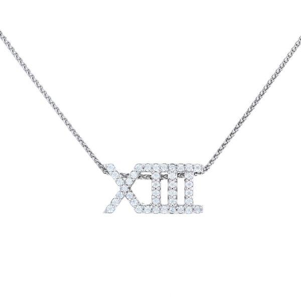 XIII 13 Roman numeral slider pendant