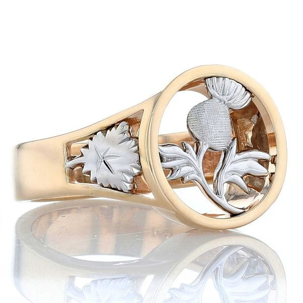 Thistle and maple leaf signet ring with celtic trinity knot