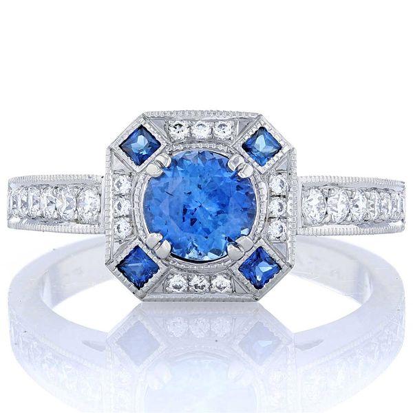 Antique cut corner sapphire halo platinum milgrain ring