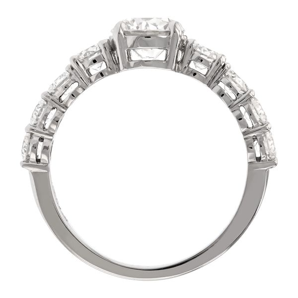 Diamond engagement ring with large side stones