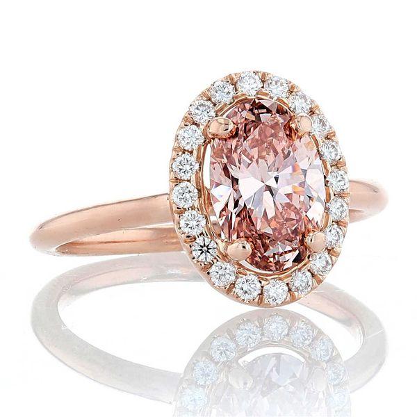 14k rose oval pink diamond halo engagement ring