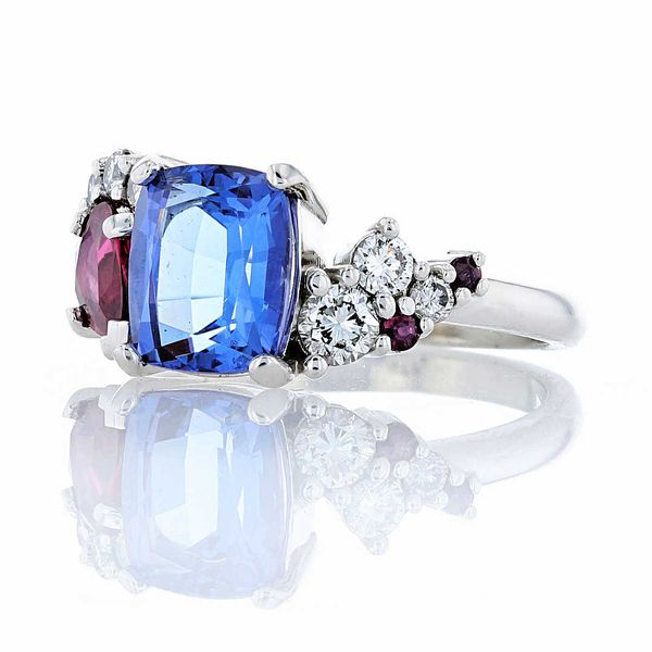 Ruby and Tanzanite Cluster Ring