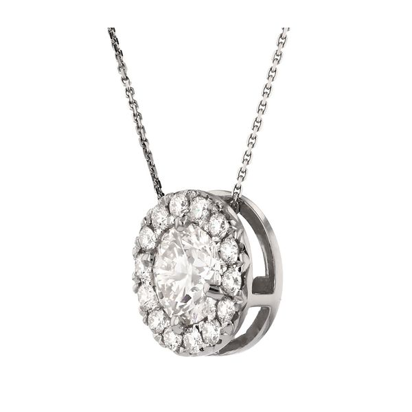 Diamond Halo Circle Pendant Image 2 Fox Fine Jewelry Ventura, CA