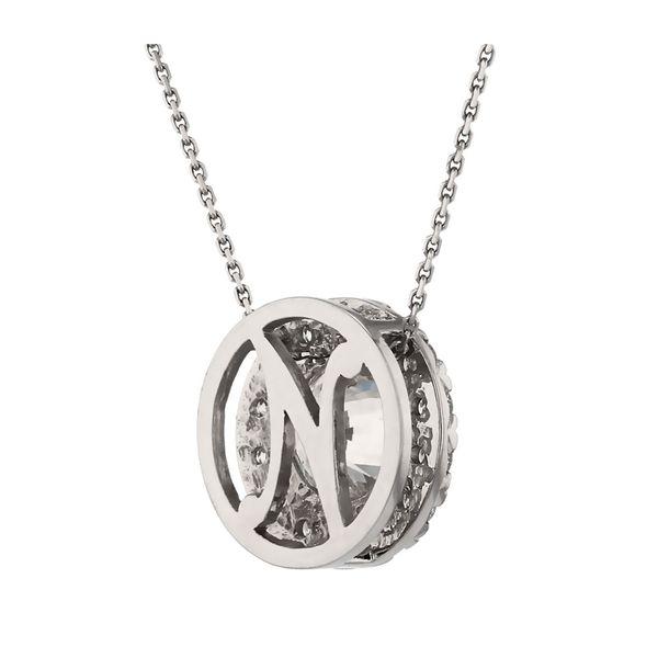 Diamond Halo Circle Pendant Image 3 Fox Fine Jewelry Ventura, CA