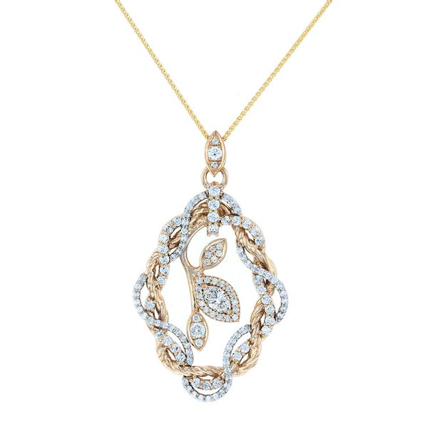 18kt yellow, 18kt white marquise leaf rope infinity pendant