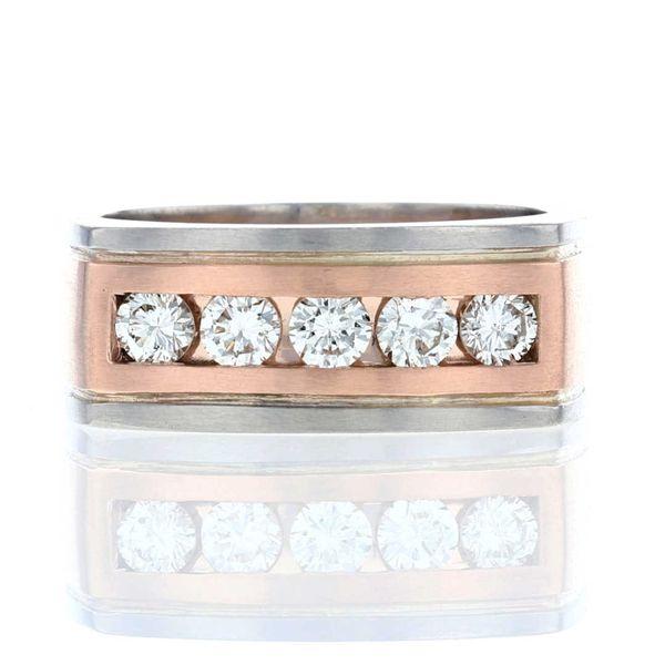 euroshank rose gold platinum diamond channel set wedding band