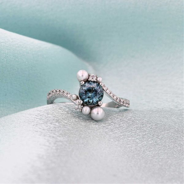 Montana Sapphire, Pearl and Diamond Ring