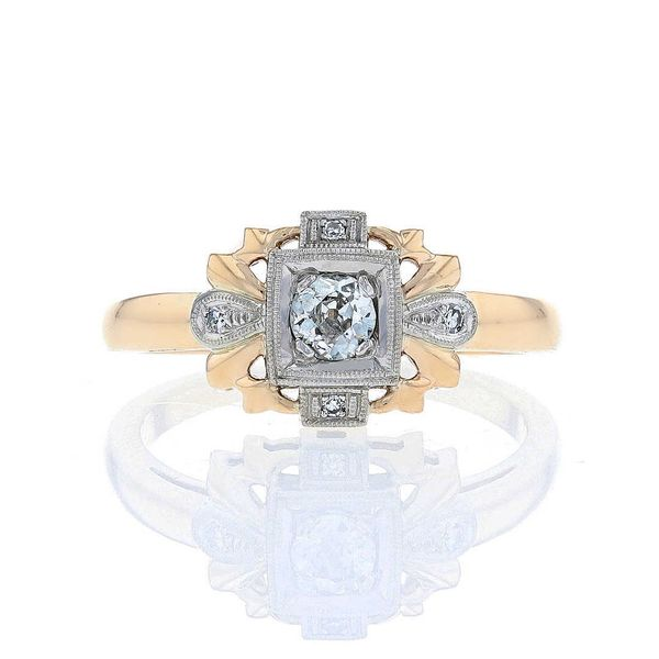 Antique replica yellow and white gold vintage engagement ring