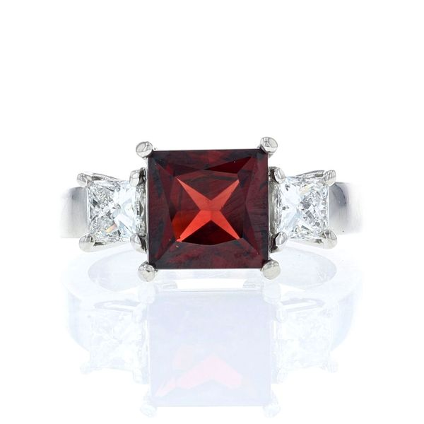 princess cut garnet and diamond platinum ring