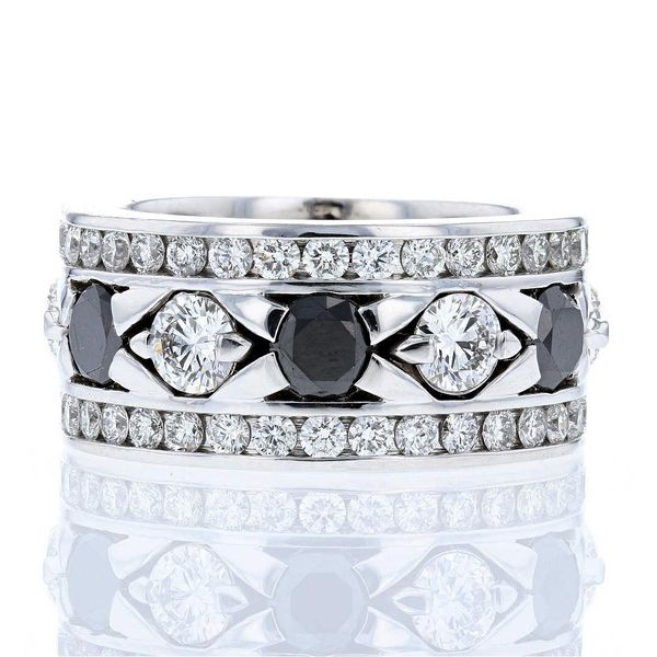 Black Diamonds and White Lab Diamonds Gents Band